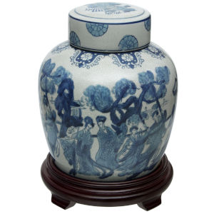 Blue and White Ladies Porcelain Ginger Jar