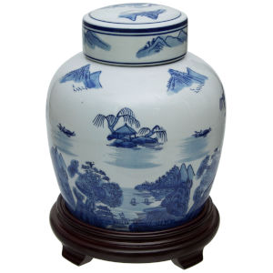 Landscape Blue and White Porcelain Ginger Jar