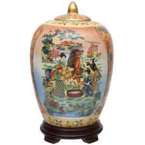 Horse In Meadow Multicolor Porcelain Vase Jar