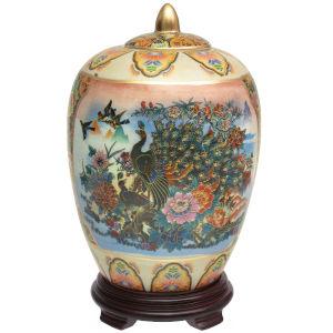 Satsuma Peacock Multicolor Porcelain Vase Jar