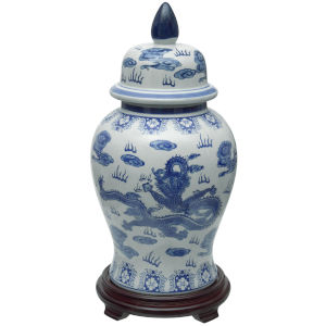 Dragon Blue and White Porcelain Temple Jar