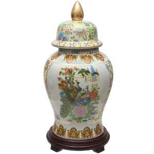 Satsuma Birds and Flowers Multicolor Porcelain Temple Jar