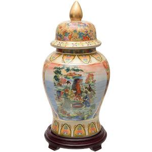 House in Meadow Multicolor Porcelain Temple Jar