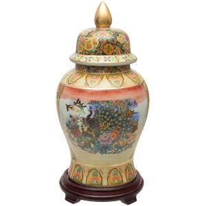 Satsuma Peacock Multicolor Temple Jar