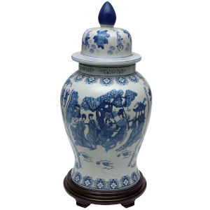 Blue and White 24-Inch Porcelain Temple Jar