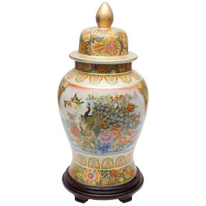 Satsuma Peacock Multicolor 24-Inch Porcelain Temple Jar