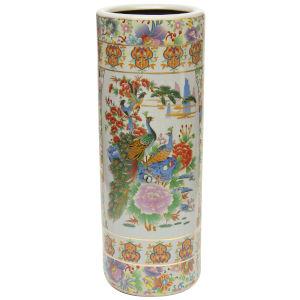 Satsuma Birds and Flowers Multicolor Porcelain Umbrella Stand