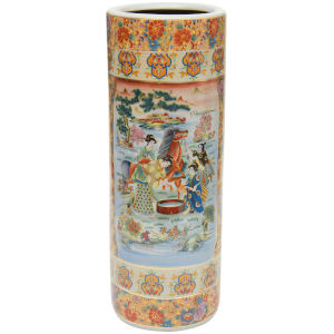 Horse In Meadow Multicolor Porcelain Umbrella Stand