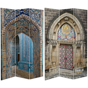 Tall Double Sided Heavenly Archways Multicolor Canvas Room Divider