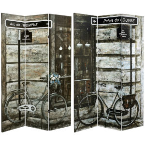 Tall Double Sided Parisian Bicycles Multicolor Canvas Room Divider