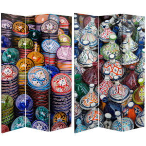 Tall Double Sided Ceramic Bazaar Multicolor Canvas Room Divider
