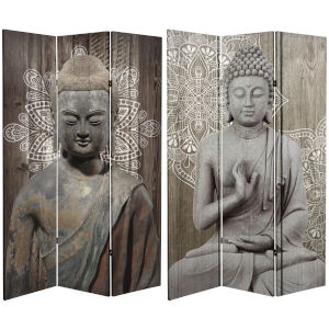 Tall Double Sided Stone Buddha Gray Canvas Room Divider