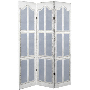 Tall Double Sided Shutter White and Blue Canvas Room Divider