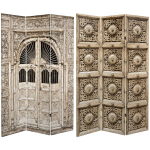 Tall Double Sided Stone Doorway Beige Canvas Room Divider