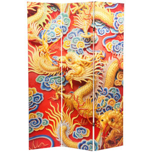 Tall Chinese Emperor Dragon Black, White and Orange Room Divider