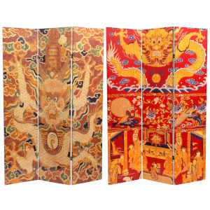 Tall Dragon Of The Red Chamber Double Sided Black, White and Orange Room Divider