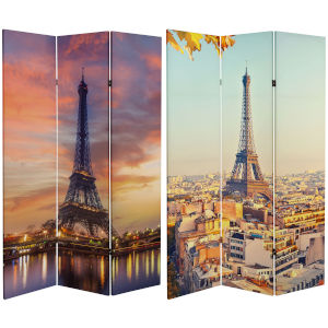 Tall Double Sided Eiffel Tower Sunset Multicolor Canvas Room Divider