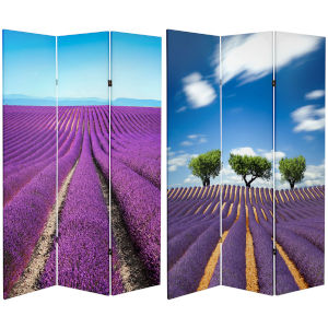 Tall Double Sided Field Purple Canvas Room Divider