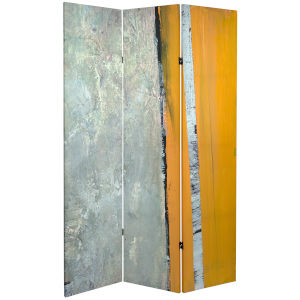 Tall Double Sided Brich Grove Yellow and Gray Canvas Room Divider