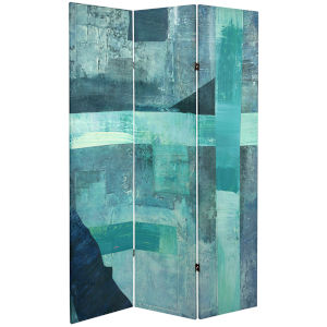 Tall Double Sided Shadow Indigo Canvas Room Divider