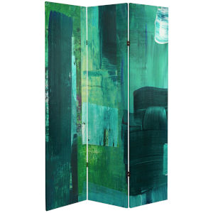 Tall Double Sided Undersea Green and Blue Canvas Room Divider