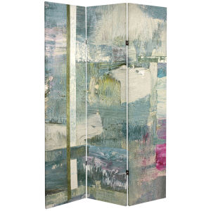 Tall Double Sided Mineral Smoke Gray Canvas Room Divider