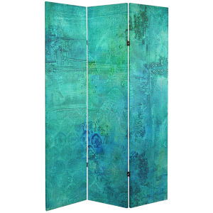 Tall Double Sided Water Bird Blue Canvas Room Divider