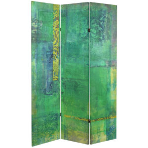 Tall Double Sided Trellis Green Canvas Room Divider
