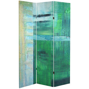 Tall Double Sided Ravello Green Canvas Room Divider