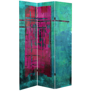 Tall Double Sided Blue and Magenta Canvas Room Divider