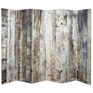 Tall Double Sided Winter Wood Beige Canvas Room Divider
