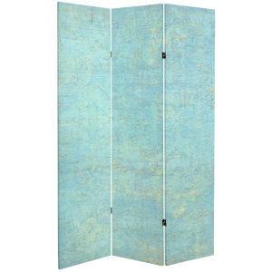Tall Double Sided Voice Of The Sky Blue and Green Canvas Room Divider