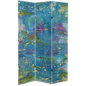 Tall Double Sided River God Blue Canvas Room Divider