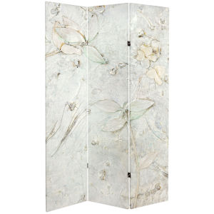 Tall Double Sided Ivory Flower Canvas Room Divider