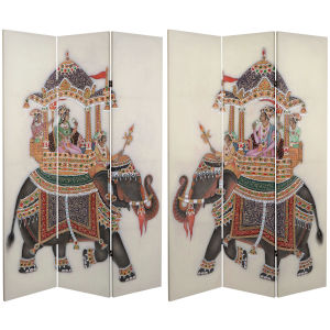 Tall Double Sided Raja Elephant White Canvas Room Divider