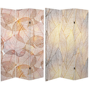 Tall Double Sided Ethereal Leaves Beige Canvas Room Divider