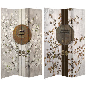 Tall Double Sided Asian Lock Beige Canvas Room Divider