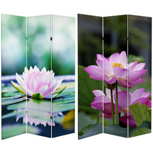 Tall Double Sided Lotus Blossom Multicolor Canvas Room Divider
