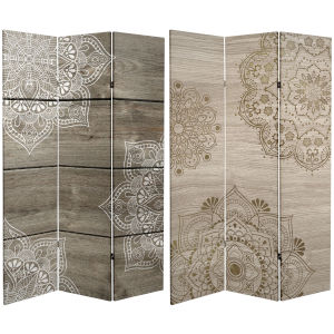 Tall Double Sided Mandala On Oak Beige Canvas Room Divider