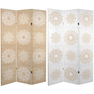Tall Double Sided Mandala On Birch White and Beige Canvas Room Divider