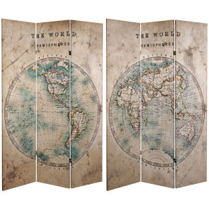 Tall Double Sided Vintage Globe Beige Canvas Room Divider