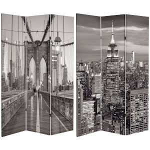Tall Double Sided New York Bridge Black and White Canvas Room Divider