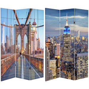 Tall Double Sided Vibrant New York Bridge Multicolor Canvas Room Divider