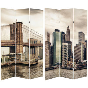 Tall Double Sided New York River Multicolor Canvas Room Divider