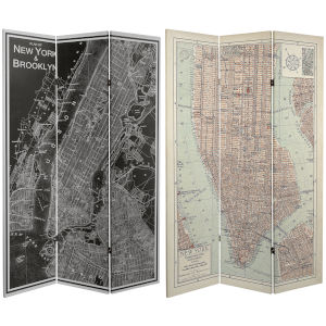 Tall Double Sided Map Of New York Beige Canvas Room Divider