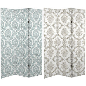 Tall Double Sided Damask White and Blue Canvas Room Divider