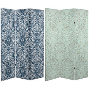 Tall Double Sided Ocean Damask Green and Blue Canvas Room Divider
