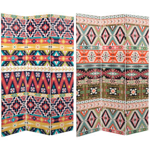 Tall Double Sided Ikat Multicolor Canvas Room Divider