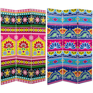 Tall Double Sided Lotus Multicolor Canvas Room Divider
