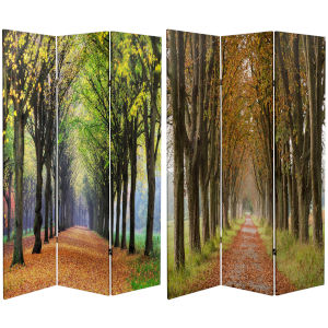 Tall Double Sided Autumn Footpath Multicolor Canvas Room Divider